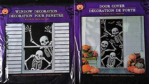 Halloween Haunted House Decorations - Skeleton Door & Window Covers (2 Piece Set) - By Retail