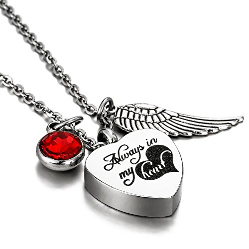 Angel Ruby Necklace - HooAMI Always In My Heart Angel Wing Ruby Charm Cremation Jewelry Memorial Urn Necklace with Engraving