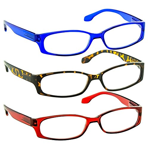 Reading Glasses 1.50 Blue Tortoise Red (3 Pack) F503 TruVision (Narrow Reading Glasses)