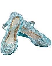 URAQT Zapatos de la Princesa, Zapatos de Disfraz Niñas Sandalias de Vestido con Tacón Plástico para Cumpleaños, Carnaval, Fiesta, Cosplay, Halloween (Azul)