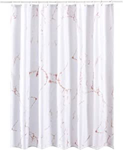 YOSTEV Marble Bathroom Shower Curtain,Pink and White Fabric Shower Curtain with Hooks,Unique 3D Printing,Decorative Bathroom Accessories,Water Proof,Reinforced Metal Grommets,Extra Long,72x96 Inches