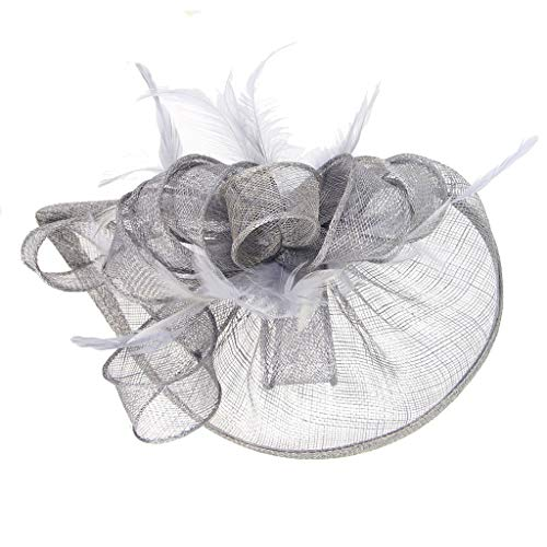 Shaoge Women Wedding Top Hat Fascinator Feather Mesh Party Cocktail Headdress Hair Clip ()