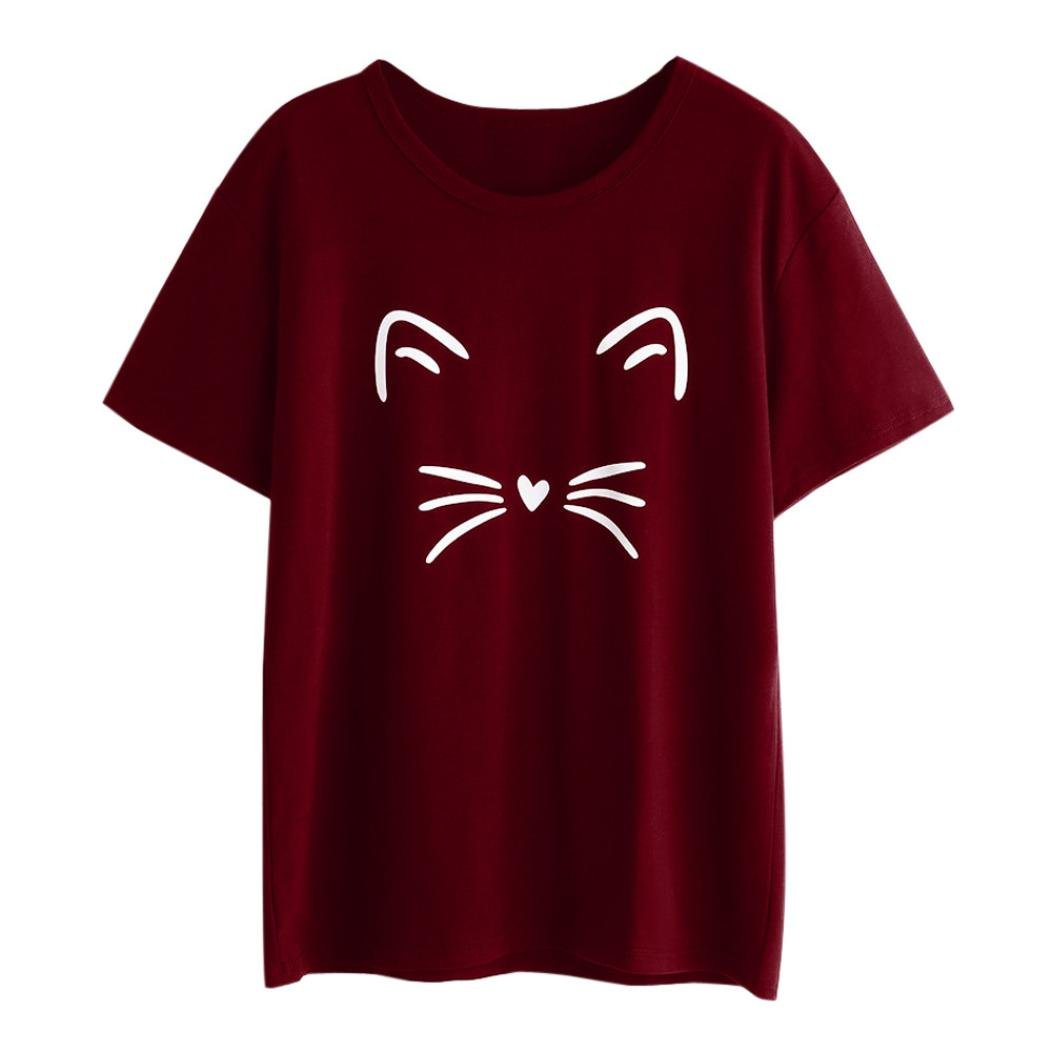 Women Teen Girls Summer Tops Blouse Mingfa Fashion Casual Short Sleeve Round Neck Cat Printed T-Shirt