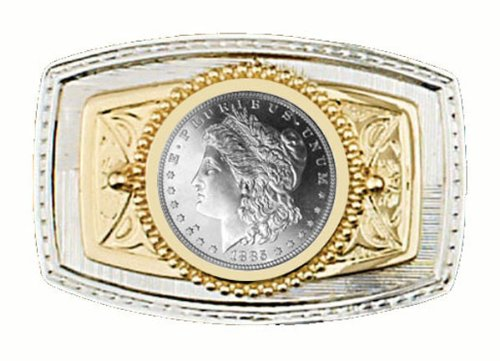 """Dollar Buckle (U.S. Silver Dollar Belt Buckle 3-3/8"""" x 2-1/4"""" - Silver & Gold Plated – with a Brilliant Uncirculated Morgan Type Silver Dollar - Made In)"""