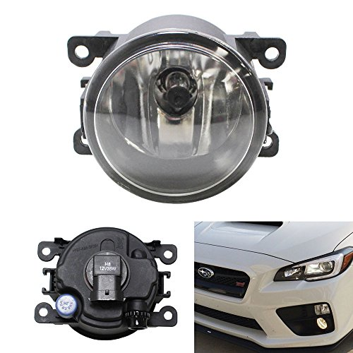 iJDMTOY One Piece (1) Fog Light Lamp Replacement w/ H11 Halogen Bulb For Acura Honda Ford Nissan Subaru, Good For LH or (Replacement Fog Light Lens)