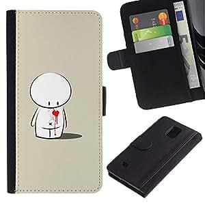 JackGot ( Carino Love Heart Sad ) Samsung Galaxy Note 4 IV la tarjeta de Crédito Slots PU Funda de cuero Monedero caso cubierta de piel