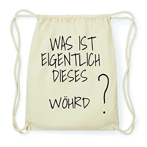 JOllify WÖHRD Hipster Turnbeutel Tasche Rucksack aus Baumwolle - Farbe: natur Design: Was ist eigentlich DUiKZa