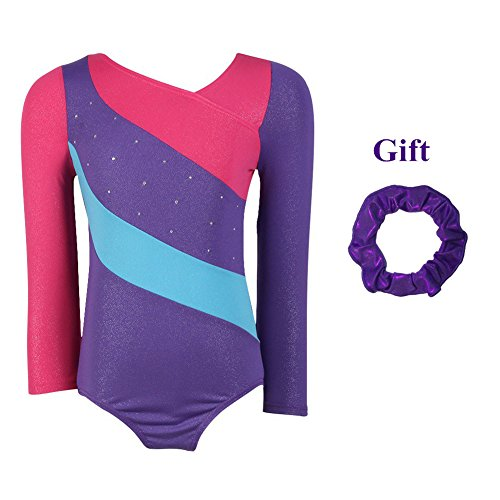 Moresave Girls Leotards For Gymnastics Short Sleeve Rainbow Stripes Sparkle Dance Bodysuit