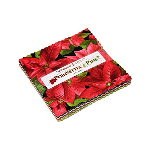 Poinsettia & Pine Charm Pack 42 5-inch Squares Maywood Studio