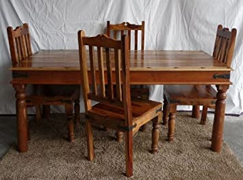 Jali Medieval Gothic Rustic Natural Honey Sheesham Indian Rosewood Dining  Table Set + 4 Chairs NEW