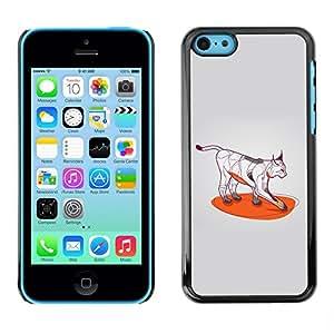 TopCaseStore / la caja del caucho duro de la cubierta de protección de la piel - Cool Cat Art Wild Bobcat Color Paws - Apple iPhone 5C