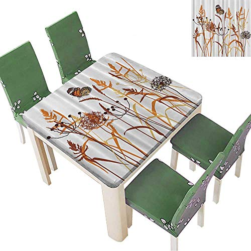 Printed Fabric Tablecloth BouquMarch Butterfly Wheat Field Wild Nature Floral Curtains Washable Polyester 23 x 23 - Bamboo Wheat Curtain