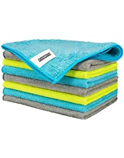 FIXSMITH Microfiber Cleaning Cloth - Pack of 8, Size: 12 x 16 in, Lint-Free, Scratch-Free Cleaning Cloths for Car Kitchen Home Office.