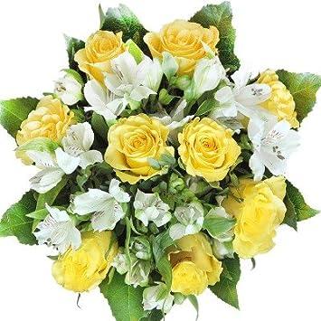 Gelbe Rosen Blumenstrauß groß, mit weißen Alstromerien ...