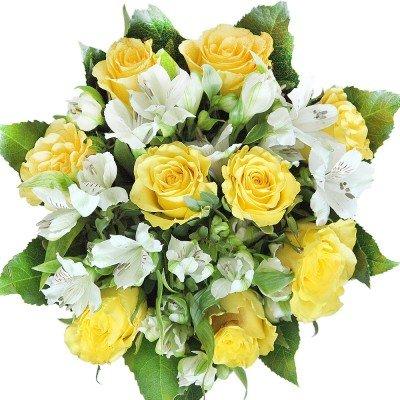 Geburtstag - Blumenstrauß mit gelben Rosen und weißen Alstromerien