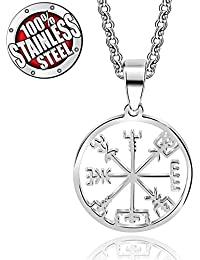 Stainless Steel Viking Odin's Symbol Of Norse Runic Pendant Necklace Viking Runes Vegvisir Compass Pendant