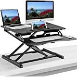 Elitech Adjustable Sit to Stand Desk Gas Spring Riser Converter With keyboard Tray, Ergonomic Tabletop Workstation for Desktop and Laptop Computers. Height Adjustable Standing Desk Converter
