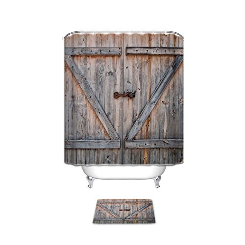 Vintage Rustic Wood Theme Polyester Fabric Bathroom Set Shower Curtain with Bath Mats Rugs, Country Decor Old Wooden Garage Door American Country Style Decorations ,Home Antiqued Look (Country Bathroom Decor Sets)