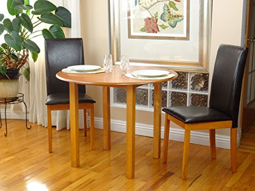 Dinette Maple - Dining Kitchen Set 3 Pcs Classic Round Table and 2 Solid Wooden Chairs Fallabella Maple Finish