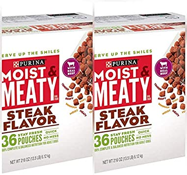 Purina Moist & Meaty Wet Dog Food; Steak Flavor - 36 ct. Pouch (2 Pack (36 ct.))