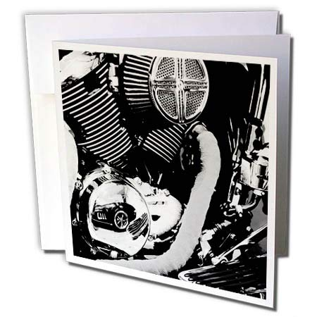 3dRose Stamp City - Autos - Photograph of a Reflection of Classic car in a Motorcycle Engine. - 1 Greeting Card with Envelope (gc_289759_5) ()