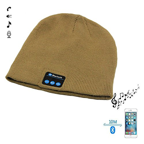 Aviator Khaki (WAWEN Bluetooth Wireless Winter Knitted Hat Handsfree Speaker Music Warm Skiing Running Outdoor Sports Smart Cap Khaki)