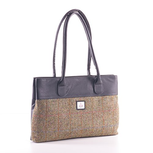 Country Green Harris Tweed Tote Bag
