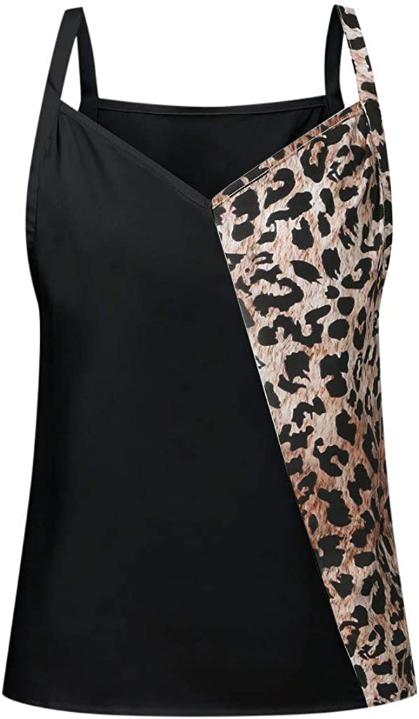 aihihe Women Tank Tops Loose Fit Leopard Print Color Block Sleeveless T-Shirt Blouse Casual Vest Tops Summer Shirts