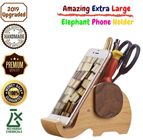 Wooden Elephant Cell Phone Stand with Pen&Pencil Cup Holder/Pot for iPhone Samsung Sony Huawei, Desk Decoration Multi-Functional Stationery Organizer, Best Elephant Gift