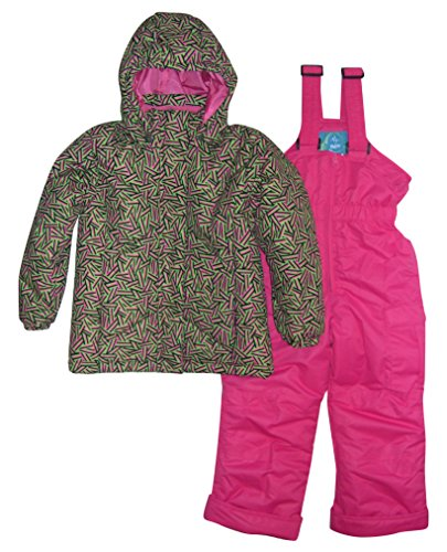 2 Piece Snowsuit Set (Pulse Little Girls' 2 Piece Snowsuit Set Insulated Zig Zag (Small (4/5), Lime Pink))