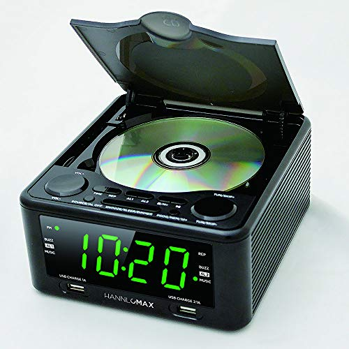 Hannlomax HX-300CD CD Clock Radio, PLL FM Radio, 1.2 Digital Clock, Dual Alarm, USB Ports for 2.1A & 1.2A Charging, Aux-in