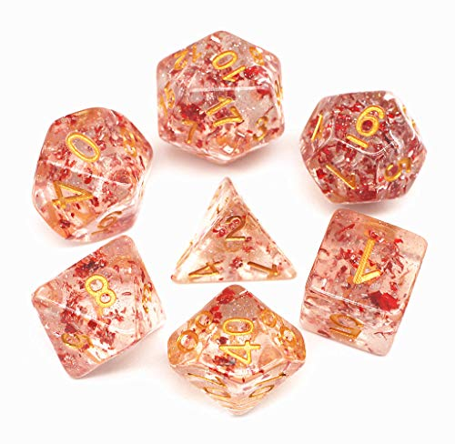 HD Dice DND Polyhedral Dice Set RPG Dice for Dungeons and Dragons Pathfinder Role Playing Games Table Games Transparent Dice with Glitter & Silver Red Petal Dice (Transparent Red Dice)