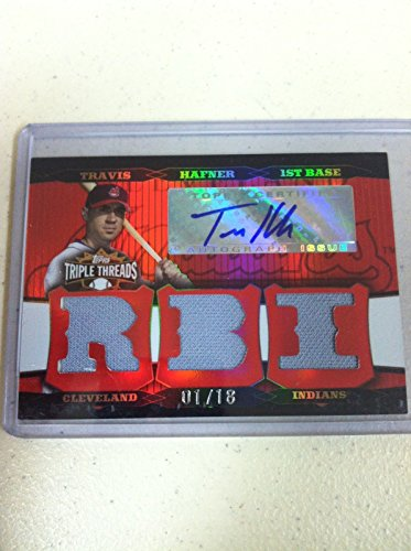 2006 TRIPLE THREADS BASEBALLS TRAVIS HAFNER AUTO AUTOGRAPH JERSEY CARD #D 01/18