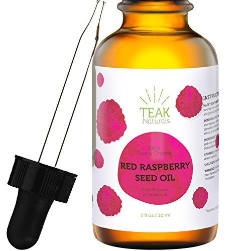 RED RASPBERRY SEED OIL by Teak Naturals, 100% Organic, Natural for Face, Hands, Scars, and Breakouts 1 oz -
