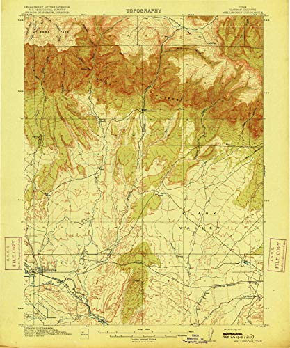 - Wellington UT topo map, 1:62500 Scale, 15 X 15 Minute, Historical, 1915, 19.7 x 16.4 in - Paper