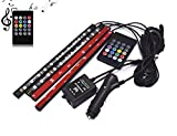Car LED Strip Light, 4pcs 48 LEDs DC 12V Multi-color Music Car Interior Music Light LED Underdash Lighting Kit with Sound Active Function and Wireless Remote Control, Included Car Charger