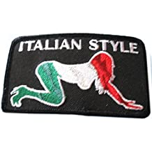 """[Single Count] Custom and Unique (3.5"""" x 2"""" Inch) Rectangular """"Comedic"""" Adult Humor Patriotic Sexual Funny Italian Style Lady Sex Position Biker Babe Patch {Black, Red, Green & White Color}"""