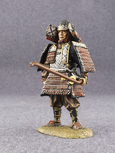 Ronin Miniatures Samurai with Bow Medieval Japan Hand Painted Tin Metal 54mm Action Figures Toy Soldiers Size 1/32 Scale for Home Décor Accents Collectible Figurines Item #SE-10