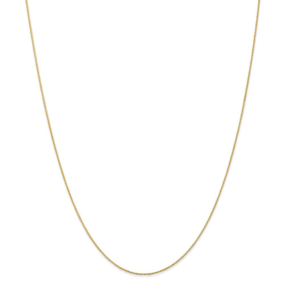 14k Yellow Gold .8mm Round Link Wheat Chain Necklace 30 Inch Pendant Charm Spiga Parisian Fine Jewelry Gifts For Women For Her by ICE CARATS