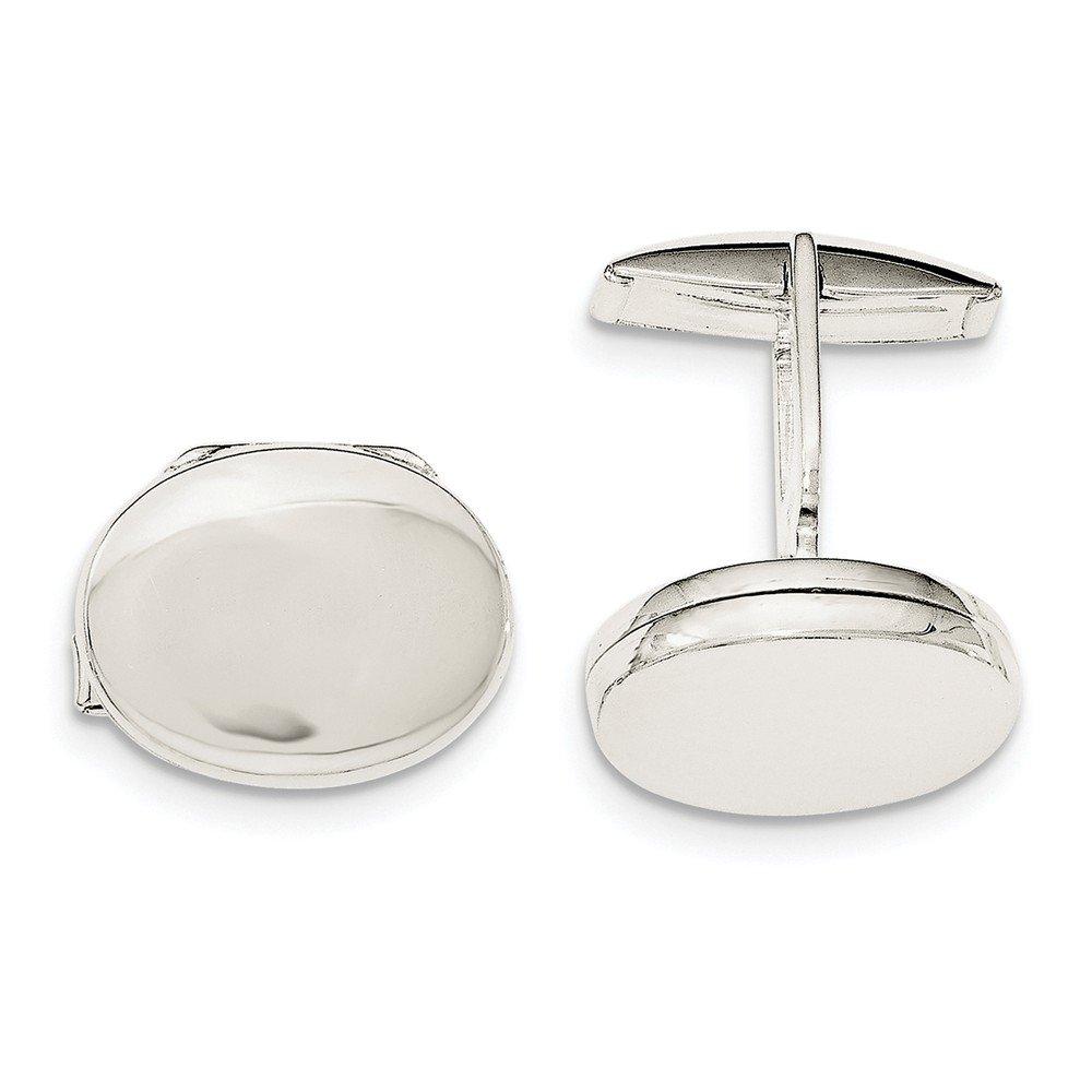Sterling Silver Oval Locket Cuff Links