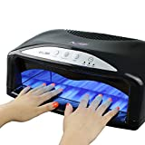 MelodySusie 54W UV Nail Lamp - Quick Drying UV Gel Nail Polish With Detachable Tray & Timmer Setting, Fits 2 Hands or Feet at the Same Time + 6 x 9W UV Bulbs + 1 EXTRA Bulb