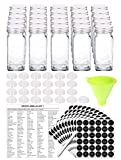 SWOMMOLY 25 Glass Spice Jars with 396 Spice Labels, Chalk Marker and Funnel Complete Set. 25 Square Glass Jars 4OZ, Airtight Cap, Pour/sift Shaker Lid