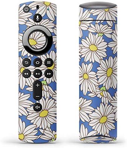 igsticker Fire TV Stick 第2世代 専用 リモコン用 全面 スキンシール フル 背面 側面 正面 ステッカー ケース 保護シール 010169 フラワー 花 青