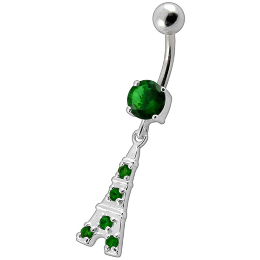 Emerald Green CZ Stone Eiffel Tower Dangling Design 925 Sterling Silver Belly Button Piercing Ring Jewelry
