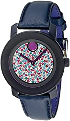Movado Women's 3600263 Bold Stainless Steel Watch with Navy Blue Leather Band