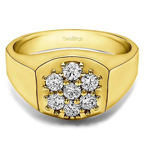 14k Yellow Gold Cool Mens Ring Forever Brilliant Moissanite(0.66Ct)Size 3 To 15 in 1/4 Size Intervals
