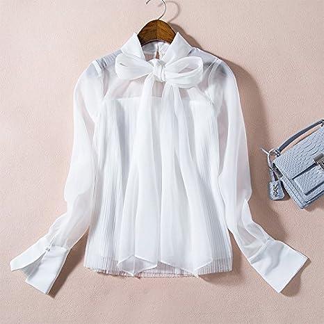 Mayihang Blusa Camisa La mujer camisa blanca de primavera gran lazo de gasa cinta floja chaqueta camisa blanca,Código,S: Amazon.es: Deportes y aire libre