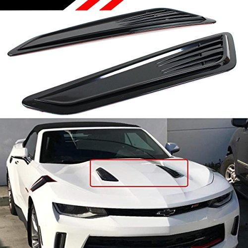 (Cuztom Tuning SS Style Black Bonnet Hood Vent Heat Extractor Scoop Decor Covers for 2016-18 Chevy Camaro LT 1LT 2LT RS)