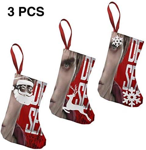 クリスマスの日の靴下 (ソックス3個)クリスマスデコレーションソックス ニコラス ホルトNicholas Hoult クリスマス、ハロウィン 家庭用、ショッピングモール用、お祝いの雰囲気を加える 人気を高める、販売、プロモーション、年次式