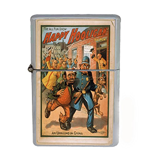 Wind Proof Dual Torch Refillable Lighter Vintage Poster D-108 The All Fun Show Happy Hooligan An Uprising In China